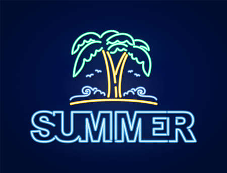 Neon light 3d text composition of Summer with palm tree and beach.