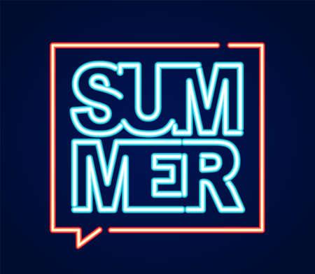 Neon light 3d text of Summer in speech bibble.