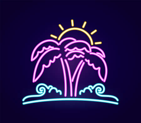 Neon light 3d beach icon. Palm tree with sun and ocean wave. Иллюстрация