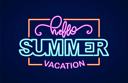 Neon light 3d lettering composition of Hello Summer Vacation in frame. Иллюстрация