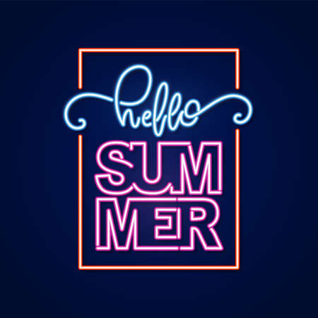 Neon light 3d lettering composition of Hello Summer in frame. Фото со стока - 127492379