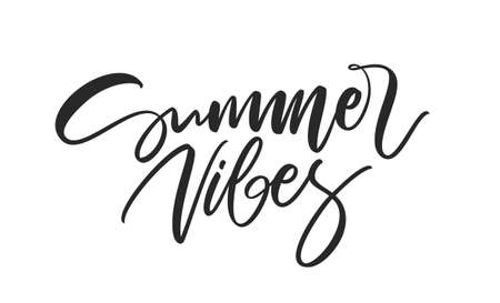 Handwritten calligraphic lettering composition of Summer Vibes on white background Фото со стока - 127492380