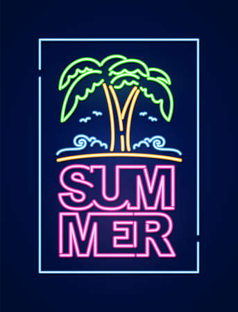 Neon light 3d text composition of Summer with palm tree and beach. Nightlife poster disign Фото со стока - 127492382