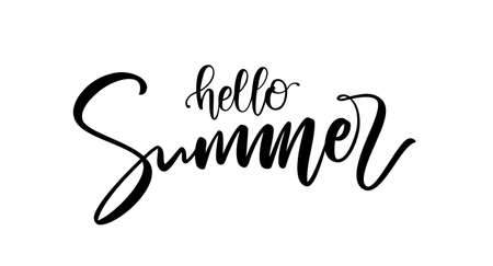 Handwritten calligraphic brush lettering composition of Hello Summer