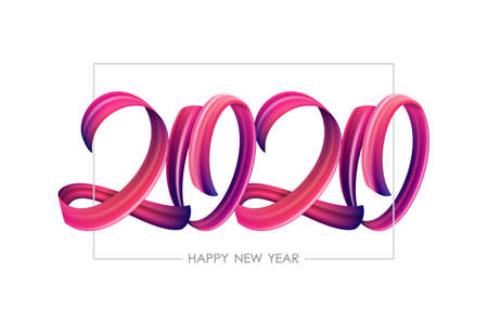 Vector illustration: Brushstroke paint lettering calligraphy of 2020 Happy New Year on white background