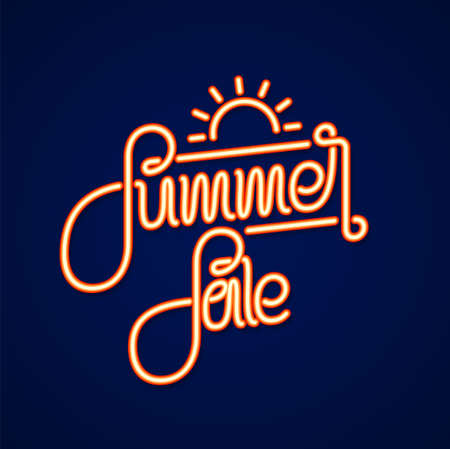Vector illustration: Neon light 3d text lettering of Summer Sale. Special offer Фото со стока - 127492416