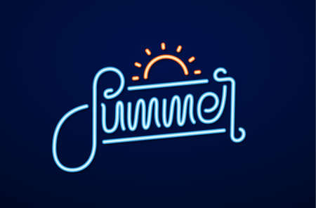 Vector illustration: Neon light 3d text of Summer with sun
