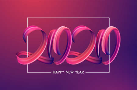 Vector illustration: Greeting card with Brushstroke paint lettering calligraphy of 2020 Happy New Year