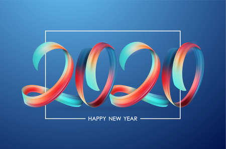 Vector illustration: Greeting card with Colorful Brushstroke paint lettering calligraphy of 2020 Happy New Year Фото со стока - 127492419