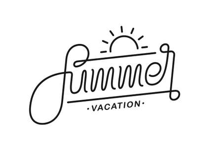 Vector illustration: Calligraphic line lettering composition of Summer Vacation on white background.