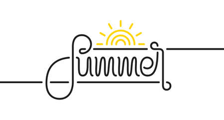 Vector illustration: Calligraphic line lettering composition of Summer with sun on white background.