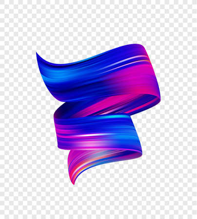 Vector illustration: 3d realistic colorful brush stroke oil or acrylic paint shape. Wave Liquid. Trendy abstract design