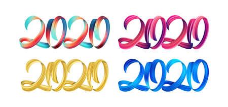Satz bunte Pinselstrichfarbe, die Kalligraphie des guten Rutsch ins Neue Jahr 2020 auf weißem Hintergrund beschriftet