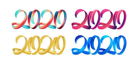 Set of colorful Brushstroke paint lettering calligraphy of 2020 Happy New Year on white background