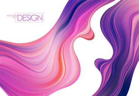 Colorful flow background. Wave Liquid shape. Abstract trendy design for your project. Иллюстрация