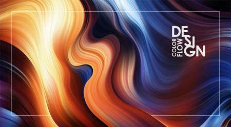 Vector illustration: Abstract Modern colorful flow background. Liquid Wave color paint shape. Art design 写真素材 - 125710652