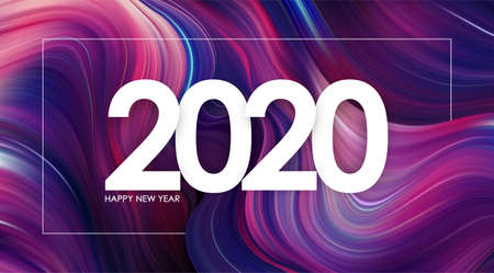 Vector illustration: Happy New Year 2020 on modern colorful flow background Trendy design