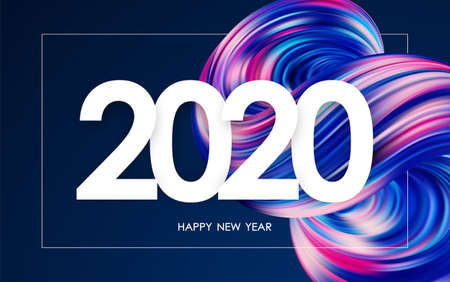 Vector illustration: Happy New Year 2020. Greeting card with colorful 3d abstract fluid shape. Trendy design Illustration