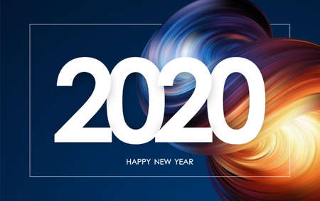 Vector illustration: Happy New Year 2020. Greeting card with colorful 3d abstract liquid shape. Trendy design Ilustração