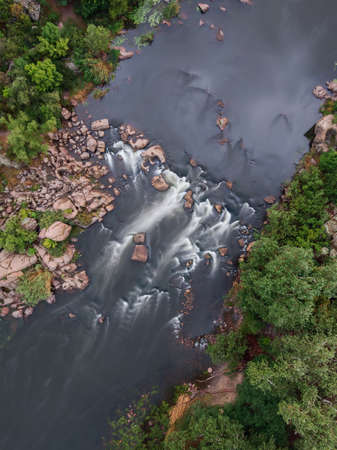 From above view of river stream. Long exposure. Aerial top view of rapids. Water flow. Stock fotó