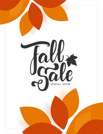 Autumn offer poster with hand lettering of Fall Sale and colorful leaves on white background