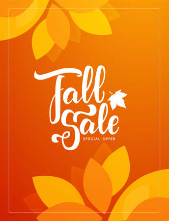 Autumn offer poster with hand lettering of Fall Sale and colorful leaves on orange background