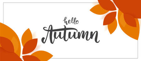 Fall background with handwritten lettering of Hello Autumn with leaves on white background