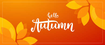 Fall background with handwritten lettering of Hello Autumn with leaves on orange background