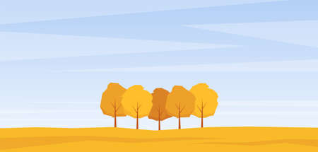 Vector illustration: Autumn landscape with trees on yollow field.