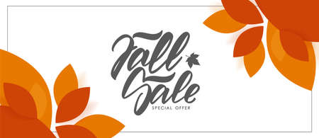 Autumn offer banner with hand lettering of Fall Sale and colorful leaves on white background