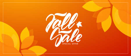 Autumn offer banner with hand lettering of Fall Sale and colorful leaves on orange background