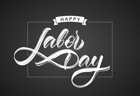 Handwritten type lettering composition of Happy Labor Day on chalkboard background Ilustracja