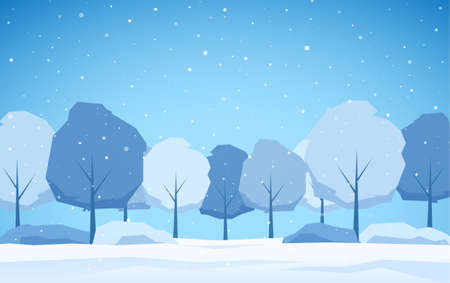 Vector illustration: Winer Landscape Background with snowy trees and snowflakes.
