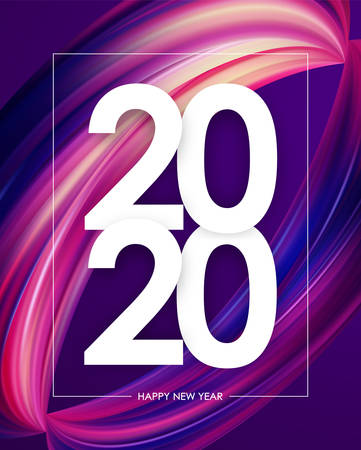 Vector illustration: Happy New Year 2020. Greeting poster with colorful abstract twisted brush stroke paint shape. Trendy design