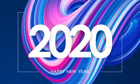 Vector illustration: Happy New Year 2020. Greeting card with 3D neon colored abstract twisted fluide shape. Trendy design