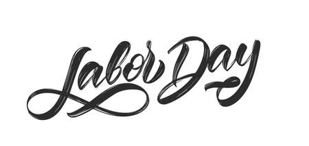 Handwritten textured brush type lettering of Labor Day isolated on white background