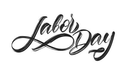 Handwritten brush type lettering of Labor Day isolated on white background Illusztráció