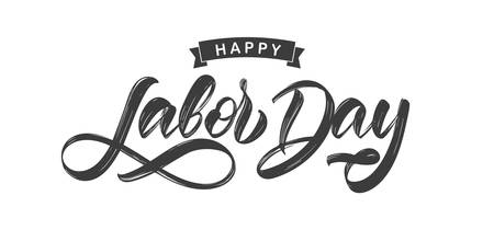 Handwritten brush type lettering of Happy Labor Day isolated on white background Archivio Fotografico - 130346403