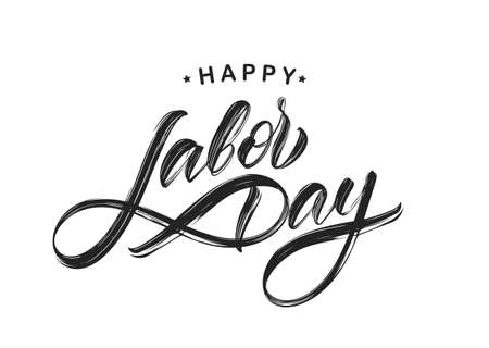 Handwritten textured brush type lettering of Happy Labor Day isolated on white background Illusztráció