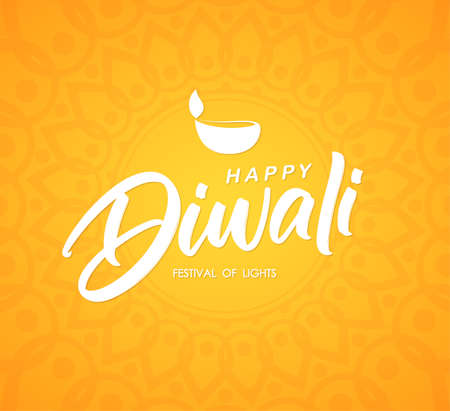 Happy Diwali. Greeting poster with handwritten brush type lettering, Indian ornament and lamp.