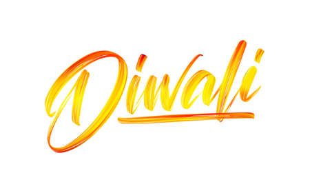 Vector illustration: Hand drawn calligraphic brush stroke colorful paint lettering of Diwali Illusztráció