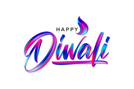 Vector illustration: Hand drawn calligraphic brush stroke colorful paint lettering of Happy Diwali
