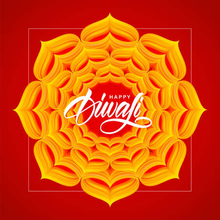 Vector illustration: Happy Diwali. Greeting poster with hand lettering, Indian ornament. Illusztráció