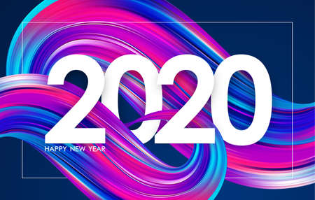 Vector illustration: Happy New Year 2020. Greeting card with colorful abstract twisted paint stroke shape. Trendy design