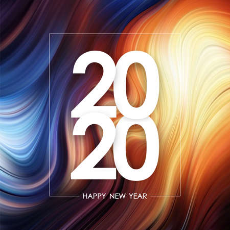 Happy New Year 2020 on colorful flow poster background. Trendy design Archivio Fotografico - 130346433