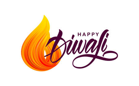 Greeting card with handwritten lettering of Happy Diwali and fire brush stroke flame Stock fotó - 130430436