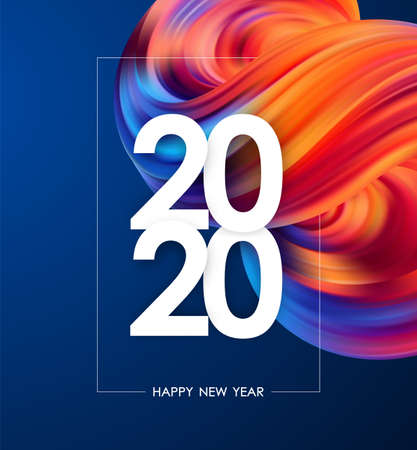 Happy New Year 2020. Greeting poster with colorful abstract fluid shape. Trendy design