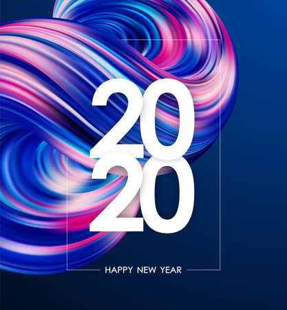 Happy New Year 2020. Greeting poster with colorful abstract liquid or fluid shape. Trendy design Stock fotó - 130430440