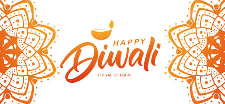 Colorful Indian greeting banner with Handwritten lettering of Happy Diwali and lamp. Stock fotó - 130430454