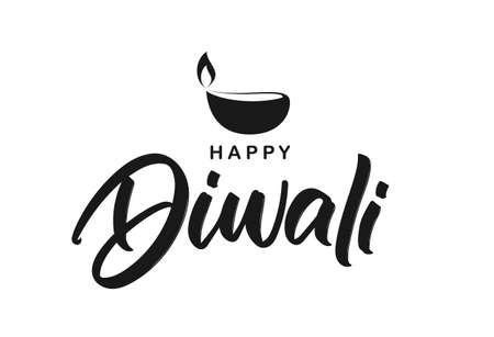 Handwritten brush lettering type composition of Happy Diwali with lamp.